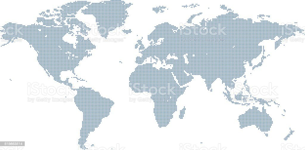 Dotted World Map vector art illustration
