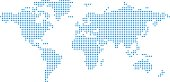 Simplified world map made from blue dots on white background. Digital world concept. .