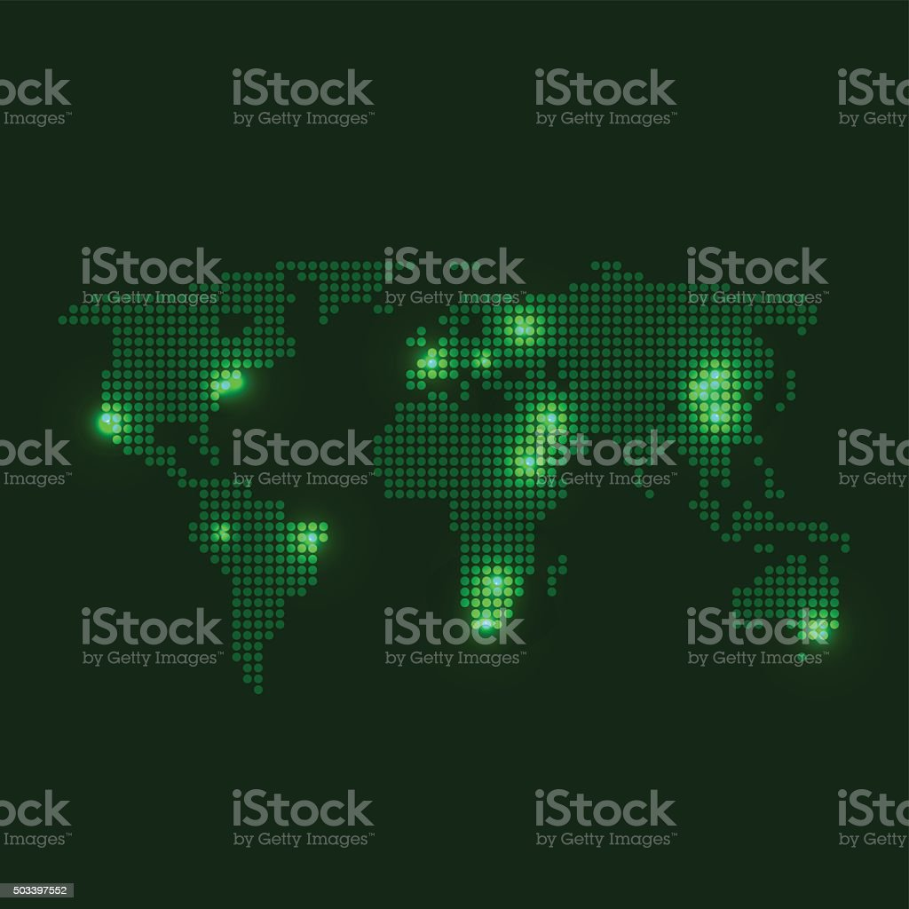 dotted world map with city lights on dark green background royalty free dotted world map