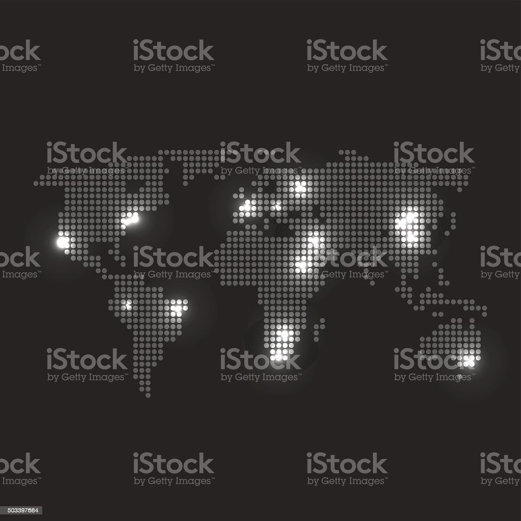 Dotted world map with city lights on dark grey background stock dotted world map with city lights on dark grey background royalty free stock vector art gumiabroncs Images