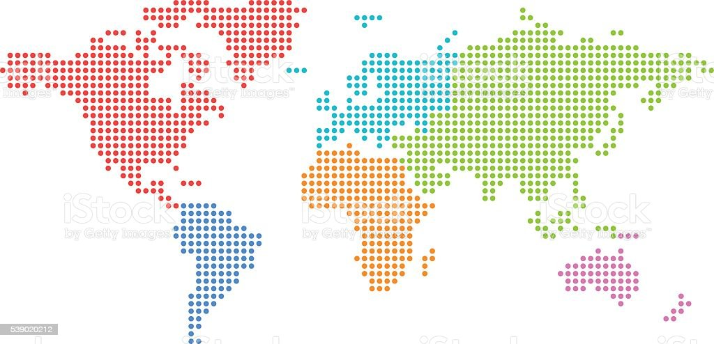 Dotted world map with colored continents. vector art illustration