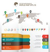 Dotted world map with infographics elements
