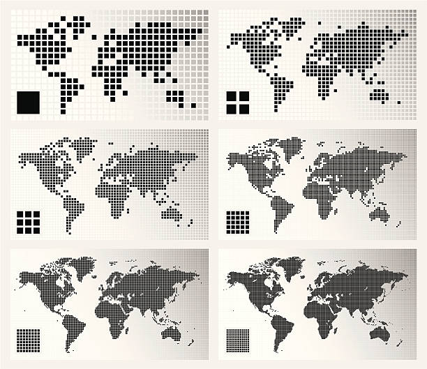 Dotted world maps in different resolutions Set of 6 dotted world maps in different resolutions: from very low to ultra high. square composition stock illustrations