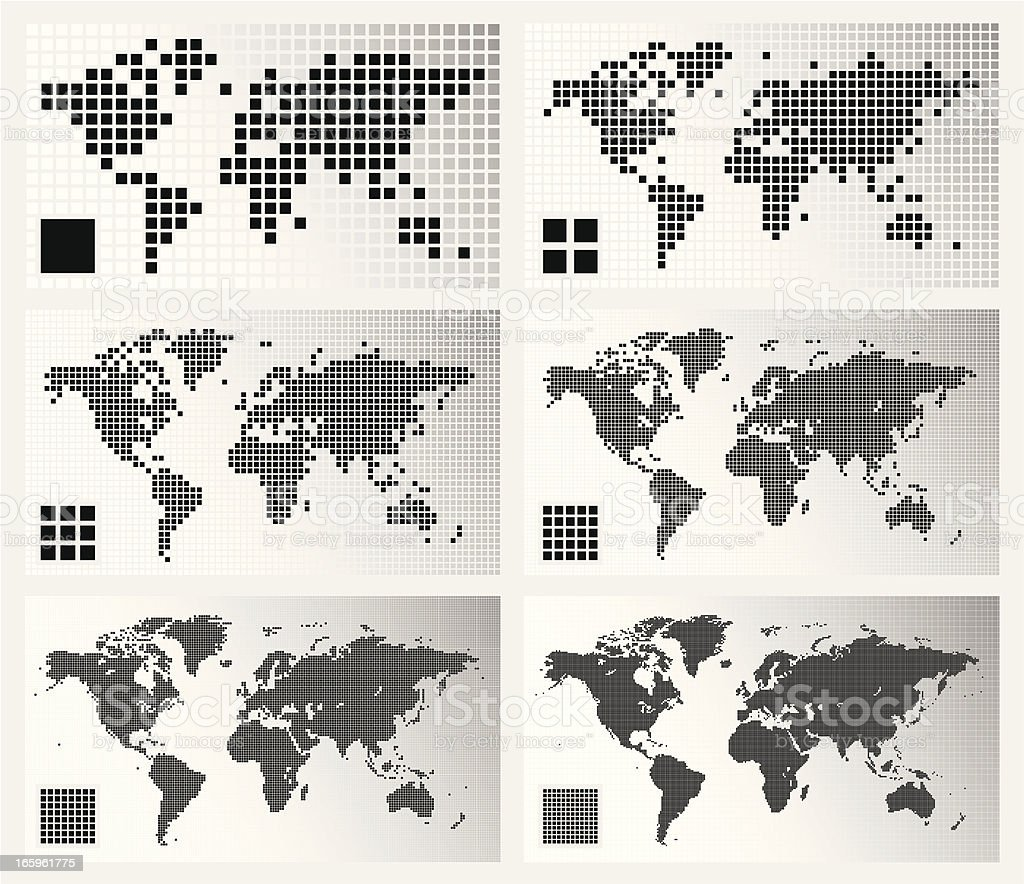 Dotted world maps in different resolutions vector art illustration