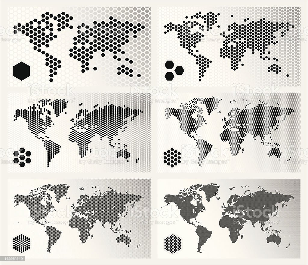 Dotted world maps in different resolutions royalty-free stock vector art