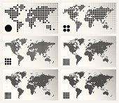 Set of 6 dotted world maps in different resolutions: from very low to ultra high.