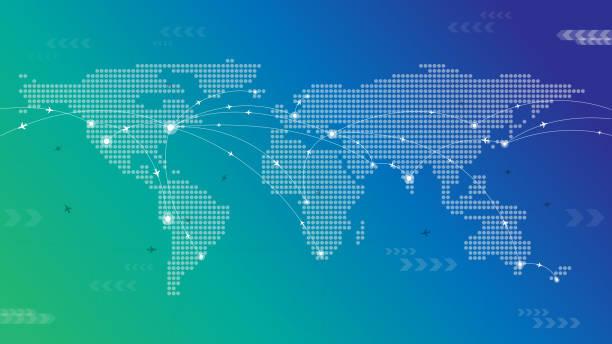 Dotted World Travel Map vector art illustration