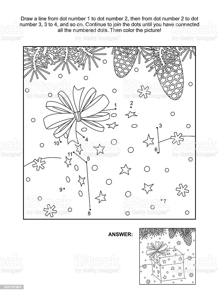 Dottodot and coloring page christmas gift box stock vector art dot to dot and coloring page christmas gift box royalty free stock negle Images