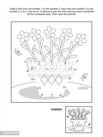 Dot To Dot And Coloring Page Flower Pot Stock Photos