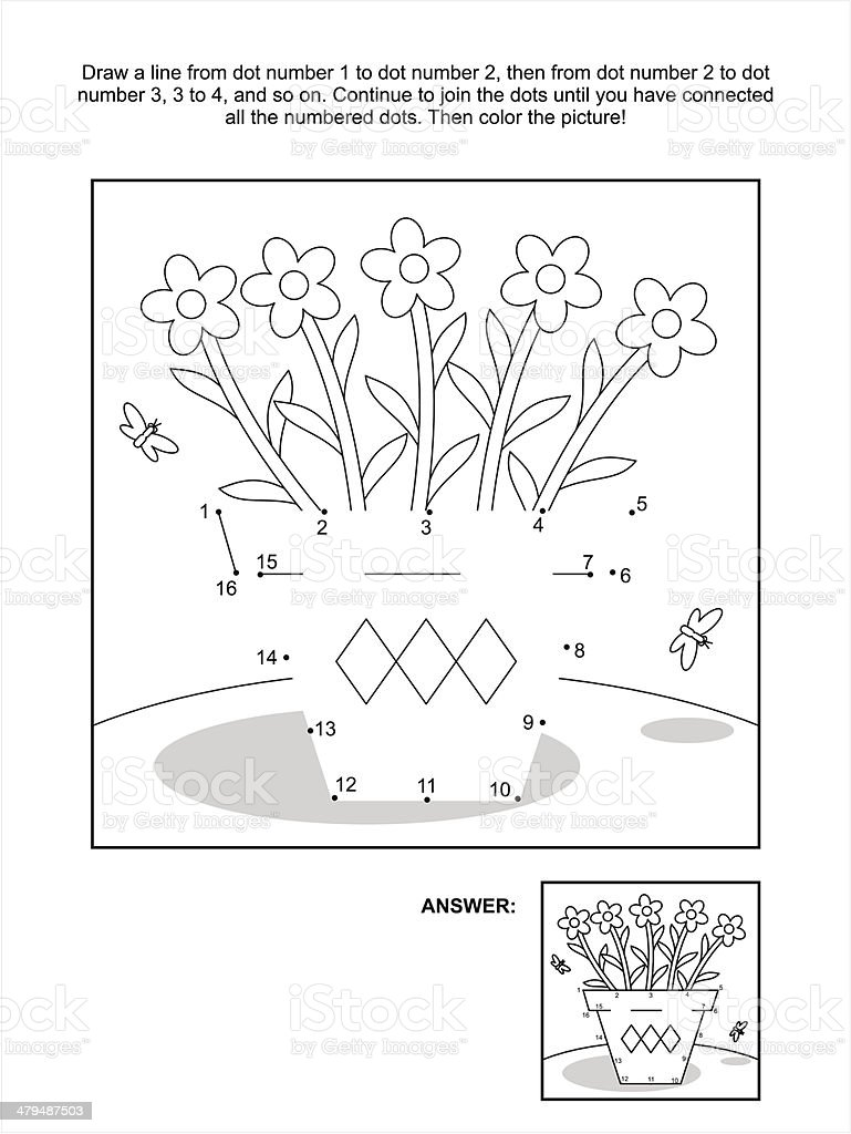 Dot-to-dot and coloring page - flower pot vector art illustration