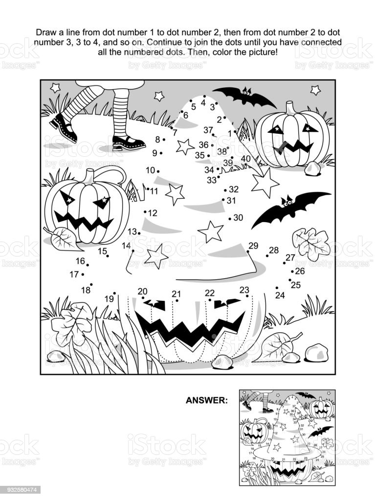 dottodot and coloring page halloween witch hat stock vector art