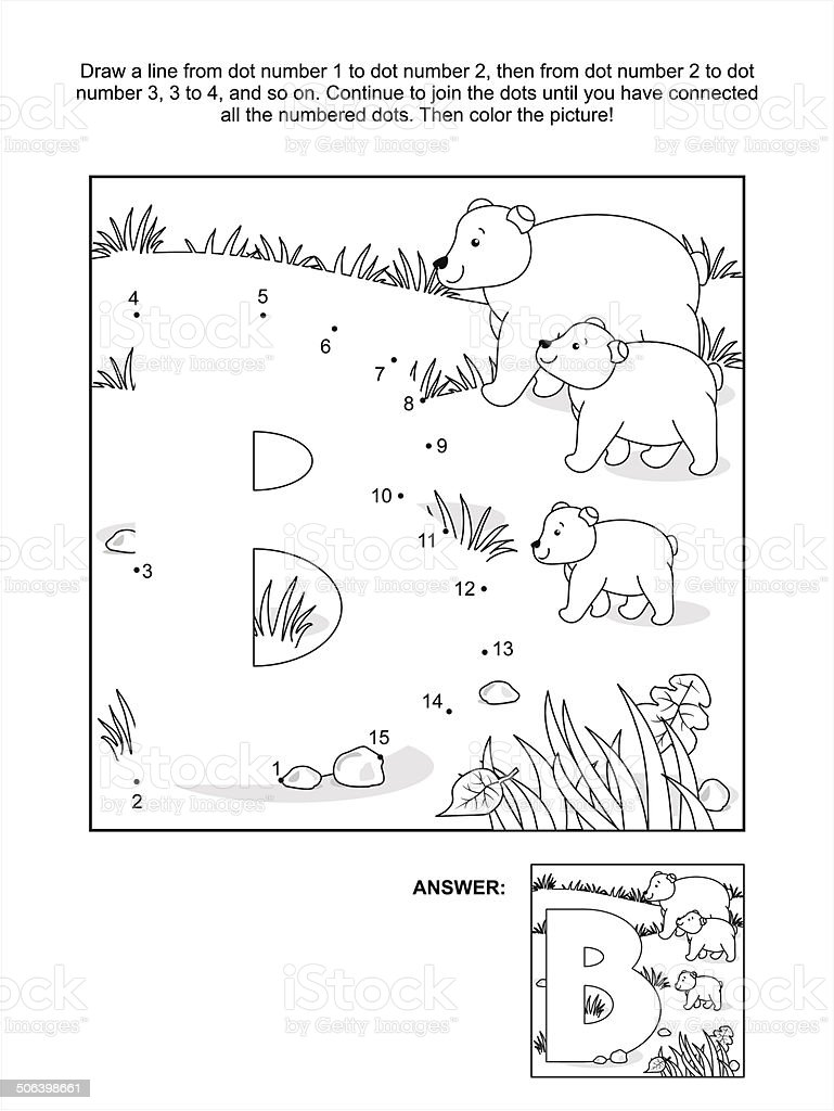 Dottodot And Coloring Page Letter B Bears向量圖形及更多3隻