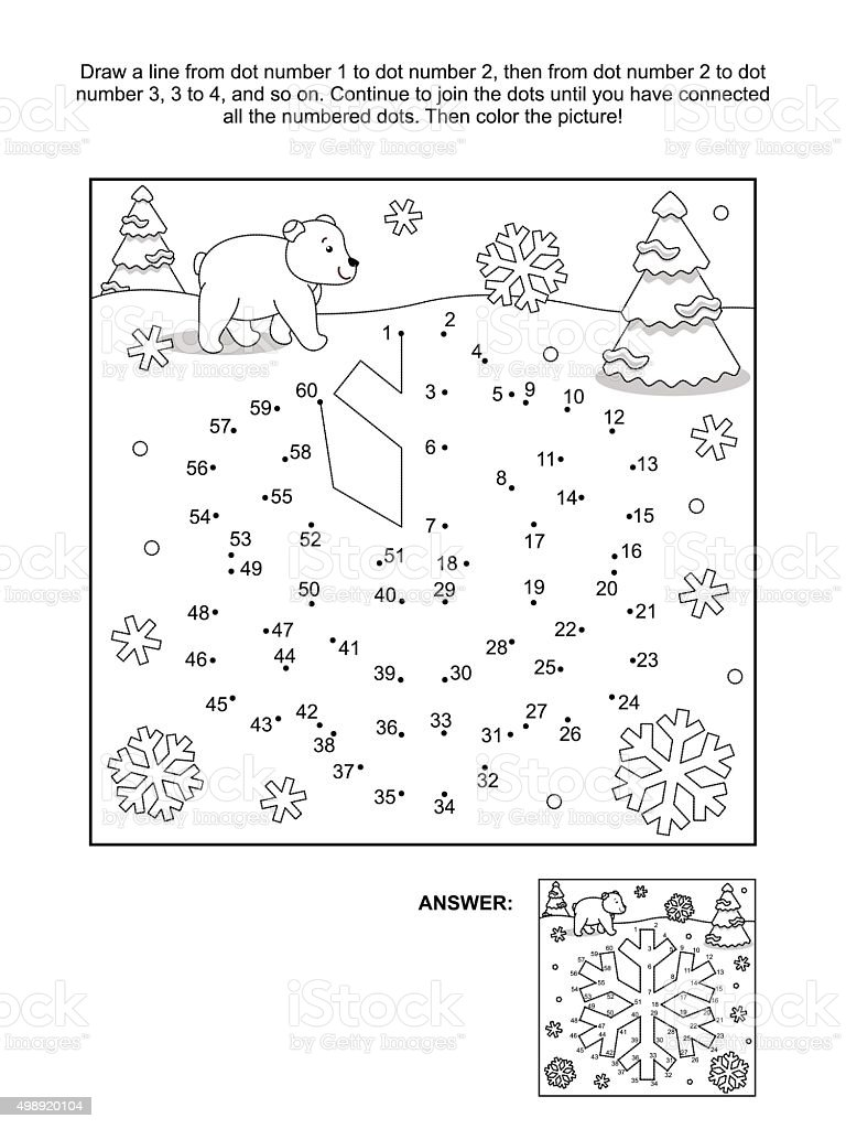 Dot-to-dot and coloring page - snowflake vector art illustration
