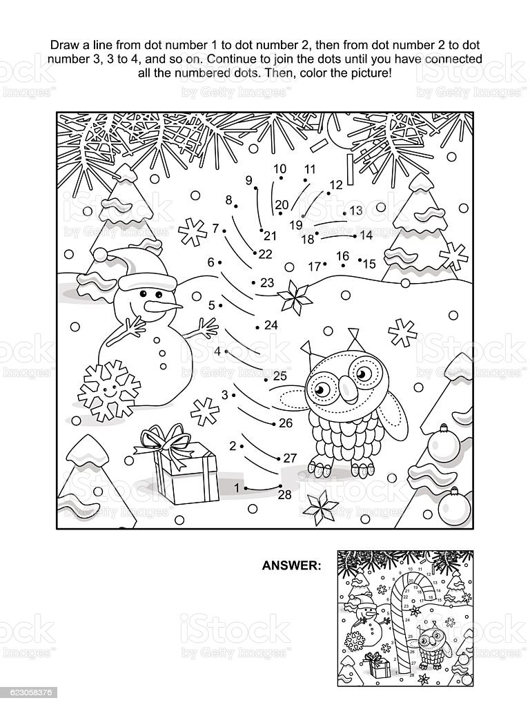 Dot-to-dot and coloring page with candy cane vector art illustration