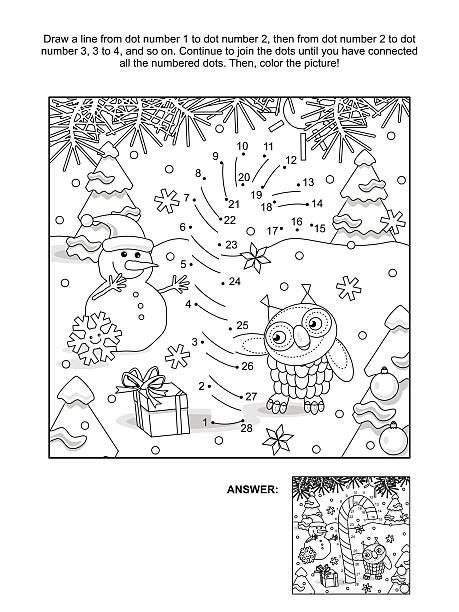 dot-to-dot and coloring page with candy cane - zahlenspiele stock-grafiken, -clipart, -cartoons und -symbole