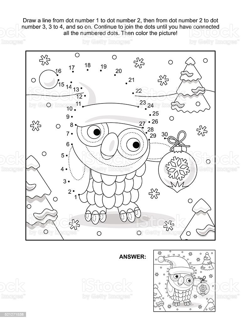 dot to dot and coloring page with christmas owl royalty free dottodot and