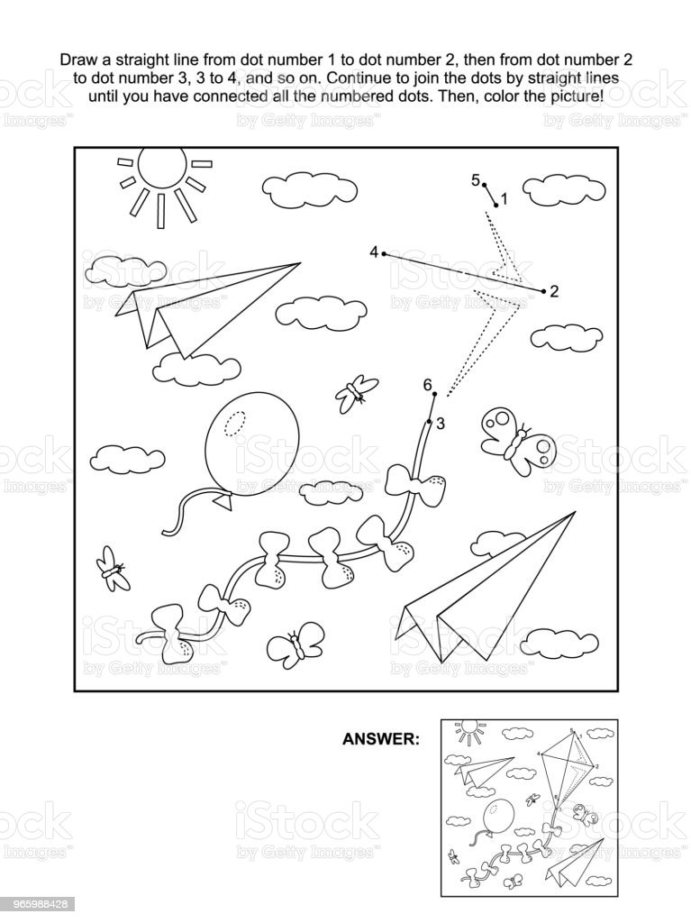 Dot-to-dot and coloring page with kite, paper planes, balloon - Royalty-free Activity stock vector