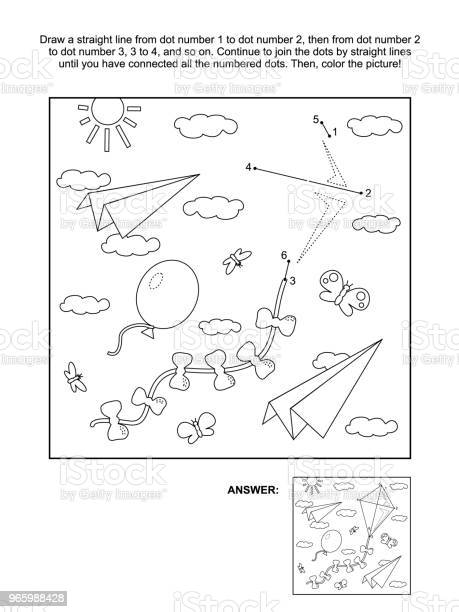 Dottodot And Coloring Page With Kite Paper Planes Balloon Stock Illustration - Download Image Now