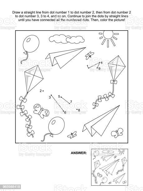 Dottodot And Coloring Page With Paper Planes Kites And Balloons Stock Illustration - Download Image Now