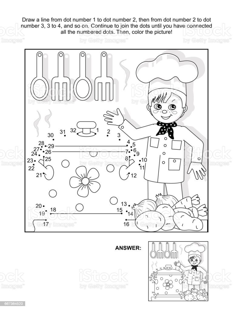 dottodot and coloring page with young chef stock vector art