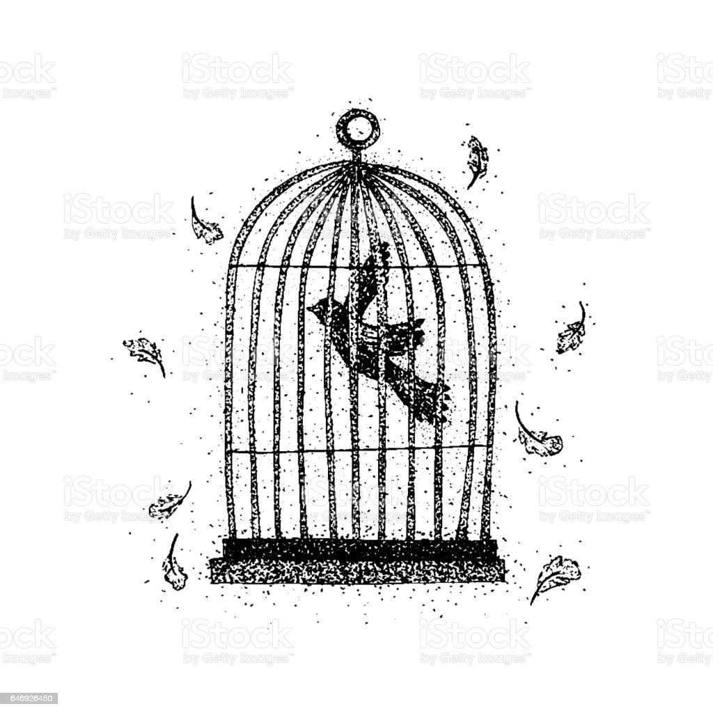 Dotwork Bird in a Cage vector art illustration