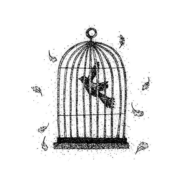 illustrations, cliparts, dessins animés et icônes de oiseau de dotwork dans une cage - dessin cage a oiseaux