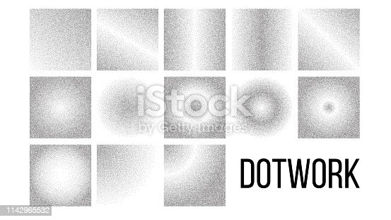 Dotwork, Black And White Gradient Vector Backdrop Set. Dotwork Art Texture Pack. Monochrome Decorative Pattern Collection. Grey Background With Diffusion Effect. Dotted Style Halftone Illustrations