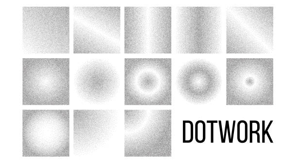 Dotwork, Black And White Gradient Vector Backdrop Set Dotwork, Black And White Gradient Vector Backdrop Set. Dotwork Art Texture Pack. Monochrome Decorative Pattern Collection. Grey Background With Diffusion Effect. Dotted Style Halftone Illustrations hill stock illustrations