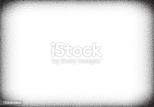 istock Dotwork gradient background, black and white scattered stipple dots 1330945844