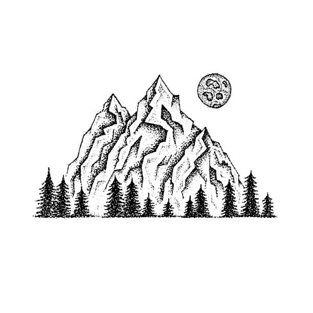 dotwork berglandschaft - landschaftstattoo stock-grafiken, -clipart, -cartoons und -symbole