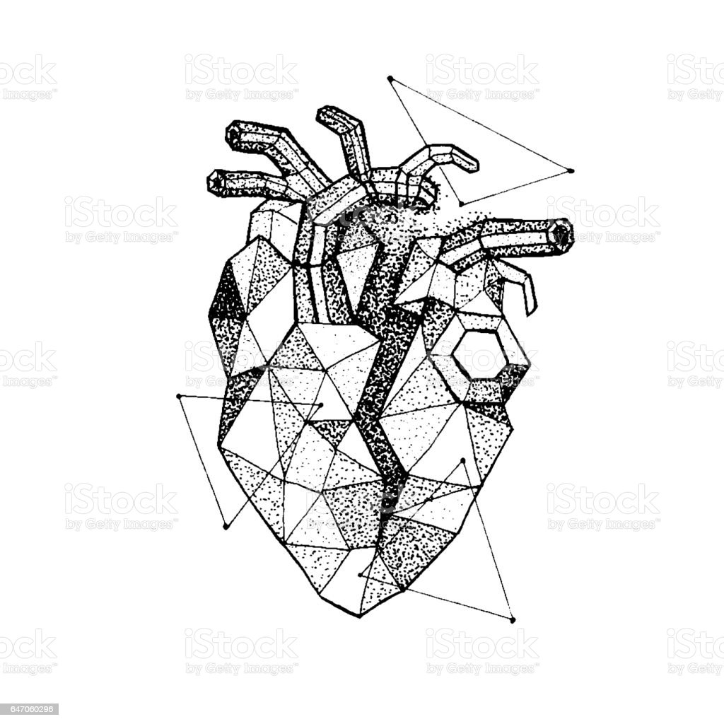 Dotwork Polygonal Broken Heart vector art illustration