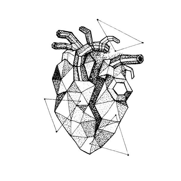 ilustraciones, imágenes clip art, dibujos animados e iconos de stock de dotwork poligonal corazón roto - tatuajes de corazones