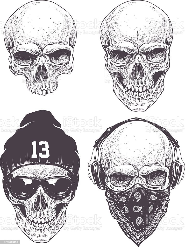 Dotwork Skulls Set vector art illustration