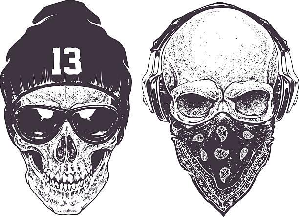 dotwork skulls - gangster stock illustrations, clip art, cartoons, & icons