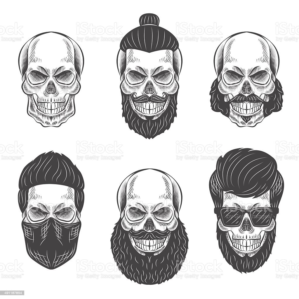 Dotwork skulls vector art illustration