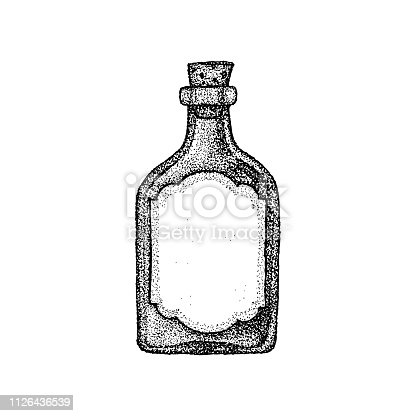 Dotwork Vintage Glass Bottle. Vector Illustration of T-shirt Design. Tattoo Hand Drawn Sketch.