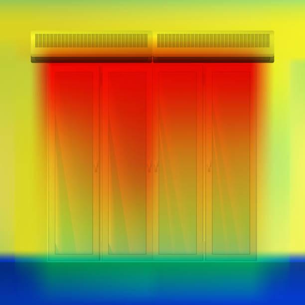 doppelte luftschleier über tür. - infrarotfotografie stock-grafiken, -clipart, -cartoons und -symbole
