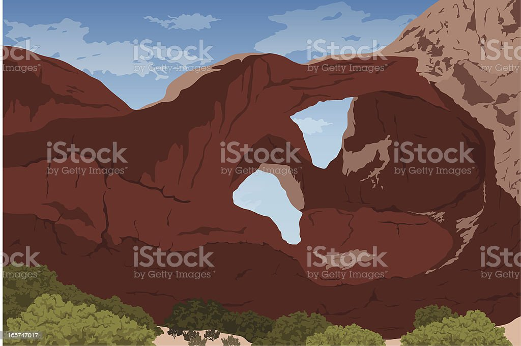 Double Arch at Arches National Park vector art illustration