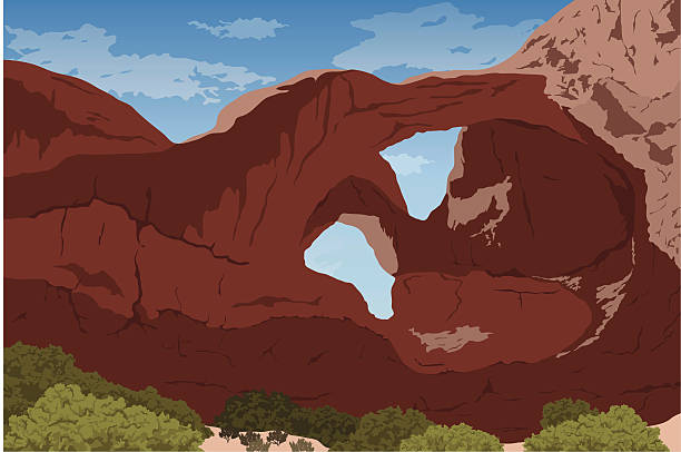 double arch at arches national park - rock formations stock illustrations