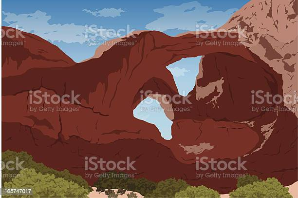 Double Arch At Arches National Park Stock Illustration - Download Image Now