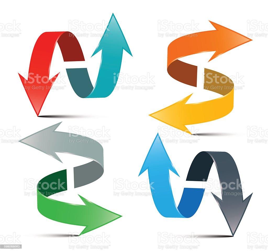 Double Arrow Set vector art illustration