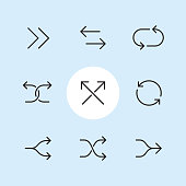 """Double arrows symbols / 9 Outline style Pixel Perfect arrow icons / Set #44  1 - Forward arrows, Opposite direction arrows, Cyclic arrows; 2 - Diverging arrows, intersecting arrows, Reload arrows; 3 - Split arrows, Shuffle arrows, Merger arrows.  Pixel Perfect Principle - all the icons are designed in 64x64px grid, outline stroke 2px. Complete """"Outline 3x3 Blue"""" collection - https://www.istockphoto.com/collaboration/boards/eKCvfOhp3E-XZOE0AIzWqg"""