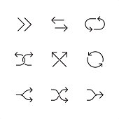 Double arrow symbol related outline vector icon set.  9 Outline style black and white arrow icons / Set #44  CONTENT BY ROWS  1 - Forward arrows, Opposite direction arrows, Cyclic arrows;  2 - Diverging arrows, intersecting arrows, Reload arrows;  3 - Split arrows, Shuffle arrows, Merger arrows.   Pixel Perfect Principle - all the icons are designed in 64x64 px grid, outline stroke 2 px.  Complete Outline 3x3 PRO collection - https://www.istockphoto.com/collaboration/boards/hyo8kGplAEWxASfzDWET0Q