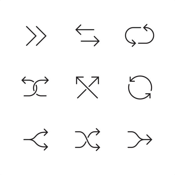 Double arrows - Pixel Perfect outline icons Double arrow symbol related outline vector icon set.  9 Outline style black and white arrow icons / Set #44  CONTENT BY ROWS  1 - Forward arrows, Opposite direction arrows, Cyclic arrows;  2 - Diverging arrows, intersecting arrows, Reload arrows;  3 - Split arrows, Shuffle arrows, Merger arrows.   Pixel Perfect Principle - all the icons are designed in 64x64 px grid, outline stroke 2 px.  Complete Outline 3x3 PRO collection - https://www.istockphoto.com/collaboration/boards/hyo8kGplAEWxASfzDWET0Q crisscross stock illustrations