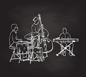 Cool musicians playing the drums, the double bass and the electric keyboard