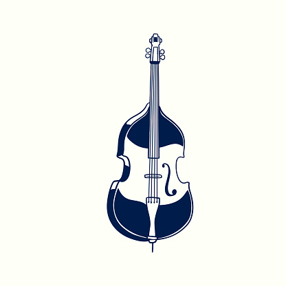 Double bass hand drawn vintage sketch style. Classical jazz music instrument isolated on white background. Old retro engraving bowed string instruments vector illustration.