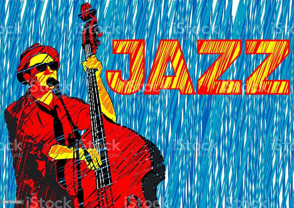 Double bass of jazz vector art illustration