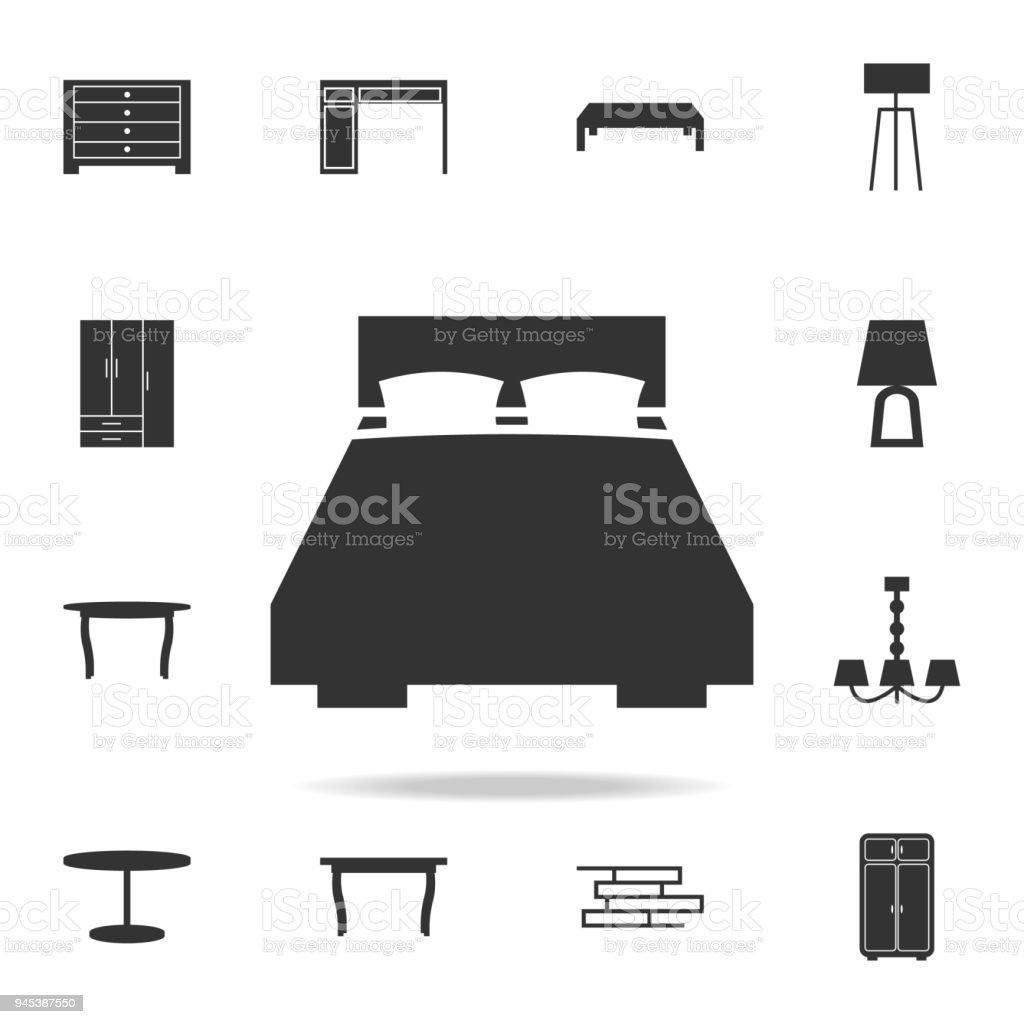 Ilustración de Cama Doble Icono Conjunto Detallado De Muebles Iconos ...