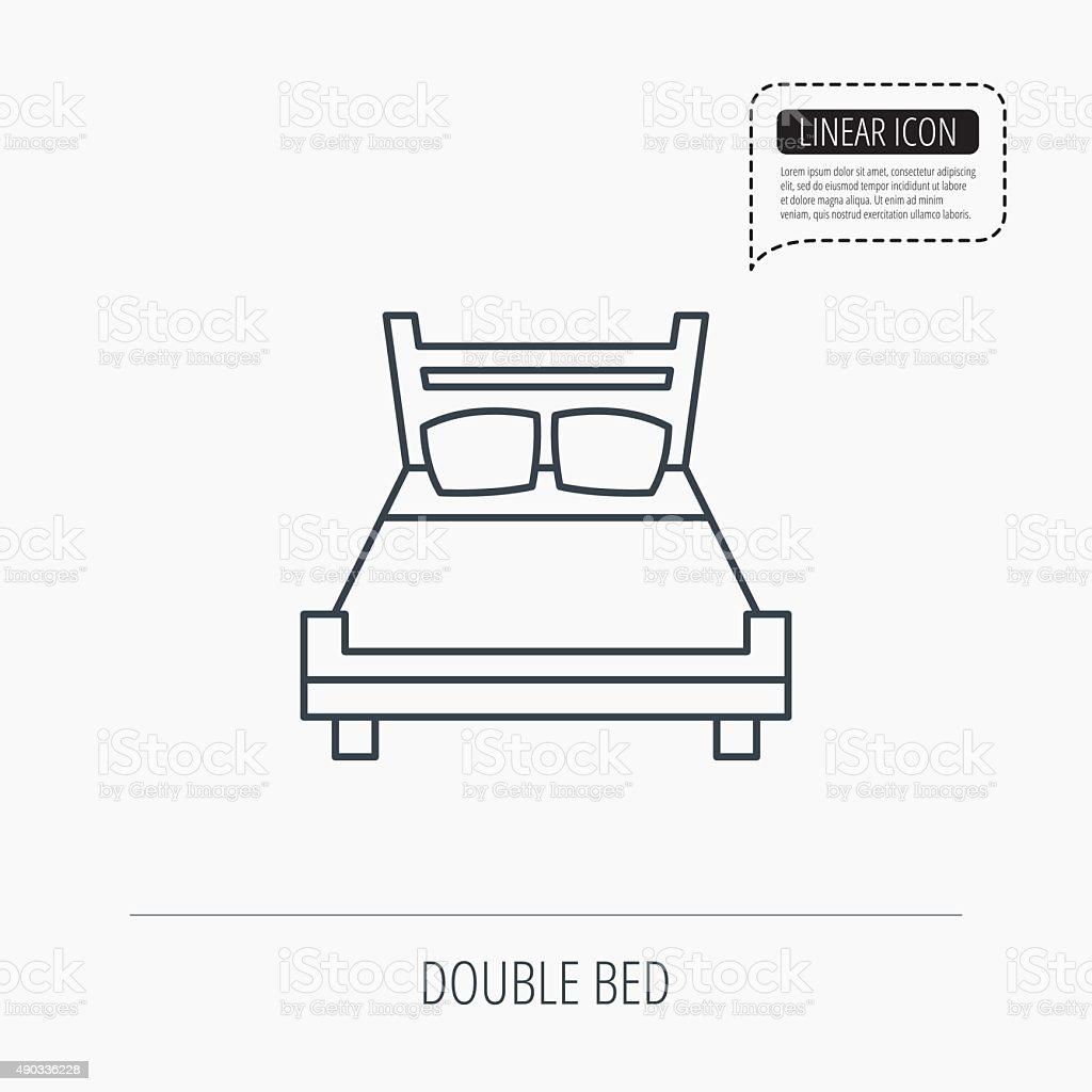 Double bed icon. Sleep symbol. vector art illustration