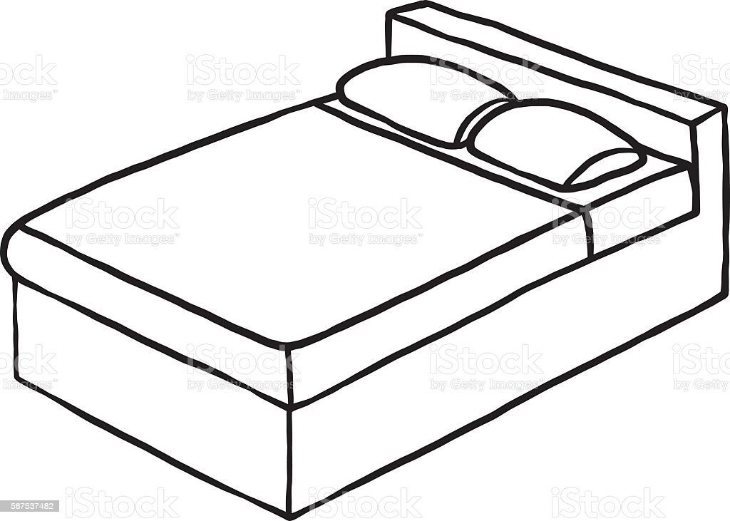 Line Art Converter Online : Double bed stock vector art istock